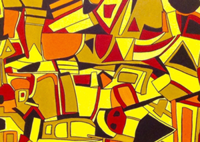 yellow and red abstract art