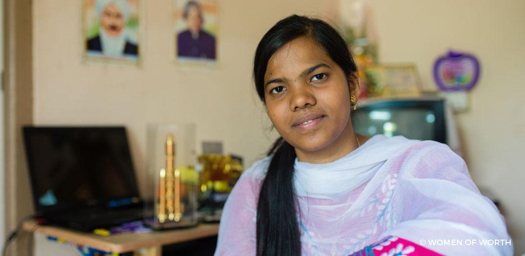 Udhaya Keerthika smiling at camera